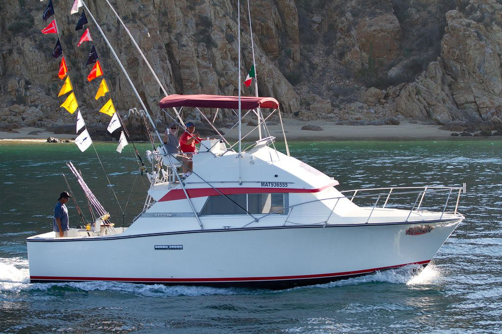 33ft Bertram sport fishing boat from Cabo St Lucas and the RedRum fishing fleet